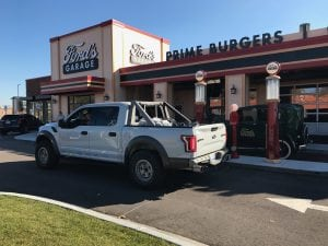 Looks like a nice garage for a burger!